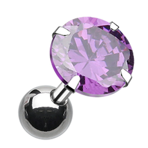 "Round Glass-Gem Crystal Cartilage Tragus Earring - 18 GA (1mm) - Ball Size: 3/16"" (5mm) - Blue - Sold As a Pair"