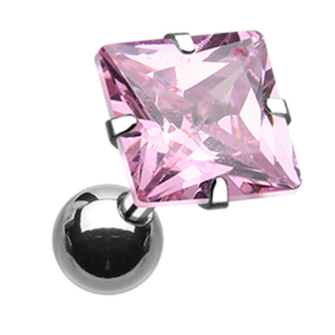 "Square Glass-Gem Crystal Cartilage Tragus Earring - 18 GA (1mm) - Ball Size: 1/4"" (6mm) - Pink - Sold As a Pair"