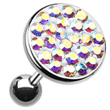 "Sparkling Multi-Glass-Gem Round Cartilage Tragus Earring - 18 GA (1mm) - Ball Size: 3/8"" (10mm) - Aurora Borealis - Sold As a Pair"