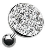 "Sparkling Multi-Glass-Gem Round Cartilage Tragus Earring - 18 GA (1mm) - Ball Size: 3/8"" (10mm) - Clear - Sold As a Pair"
