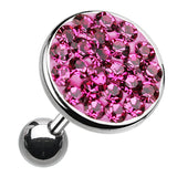 "Sparkling Multi-Glass-Gem Round Cartilage Tragus Earring - 18 GA (1mm) - Ball Size: 5/16"" (8mm) - Fuchsia - Sold As a Pair"