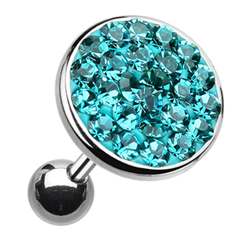 "Sparkling Multi-Glass-Gem Round Cartilage Tragus Earring - 18 GA (1mm) - Ball Size: 5/16"" (8mm) - Teal - Sold As a Pair"