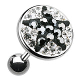 "Shining Star Multi-Glass-Gem Cartilage Tragus Earring - 18 GA (1mm) - Ball Size: 3/8"" (10mm) - Clear/Hematite Color - Sold As a Pair"