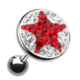 "Shining Star Multi-Glass-Gem Cartilage Tragus Earring - 18 GA (1mm) - Ball Size: 3/8"" (10mm) - Clear/Red - Sold As a Pair"