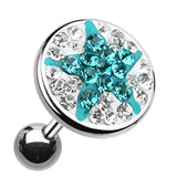 "Shining Star Multi-Glass-Gem Cartilage Tragus Earring - 18 GA (1mm) - Ball Size: 3/8"" (10mm) - Clear/Teal - Sold As a Pair"