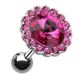 "Studded Glass-Gem Unity Crystal Cartilage Tragus Earring - 18 GA (1mm) - Ball Size: 3/8"" (10mm) - Fuchsia - Sold As a Pair"