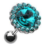 "Studded Glass-Gem Unity Crystal Cartilage Tragus Earring - 18 GA (1mm) - Ball Size: 3/8"" (10mm) - Teal - Sold As a Pair"