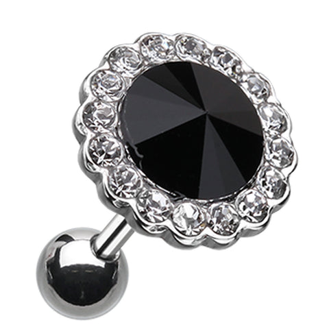 "Studded Glass-Gem Crystal Cartilage Tragus Earring - 18 GA (1mm) - Ball Size: 3/8"" (10mm) - Clear/Black - Sold As a Pair"