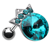 "Crown Topped Glass-Gem Cartilage Tragus Earring - 18 GA (1mm) - Ball Size: 5/16"" (8mm) - Teal - Sold As a Pair"