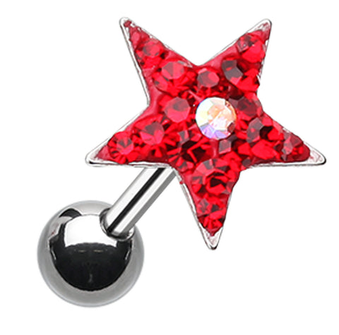 Star Point Sparkling Multi-Glass-Gem Cartilage Tragus Earring - 18 GA (1mm) - Red - Sold As a Pair