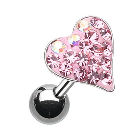 Dainty Heart Sparkling Multi-Glass-Gem Cartilage Tragus Earring - 18 GA (1mm) - Pink - Sold As a Pair