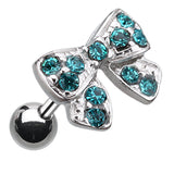 Dainty Bow-Tie Cartilage Tragus Earring - 18 GA (1mm) - Teal - Sold As a Pair
