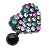 Motley Heart Multi-Glass-Gem Cartilage Tragus Earring - 18 GA (1mm) - Blue/Green/Fuchsia - Sold As a Pair