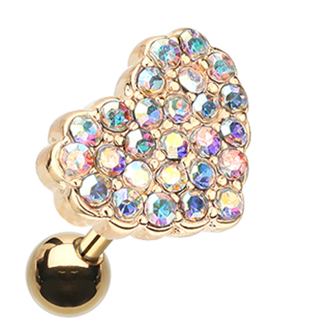 Golden Colored Sparkling Heart Multi-Glass-Gem Cartilage Tragus Earring - 18 GA (1mm) - Aurora Borealis - Sold As a Pair