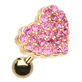 Golden Colored Sparkling Heart Multi-Glass-Gem Cartilage Tragus Earring - 18 GA (1mm) - Pink - Sold As a Pair