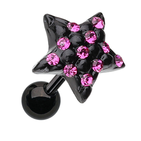 Blackline Star Multi-Glass-Gem Cartilage Tragus Earring - 18 GA (1mm) - Fuchsia - Sold As a Pair