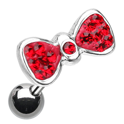 Sparkling Bow-Tie Cartilage Tragus Earring - 18 GA (1mm) - Red - Sold As a Pair