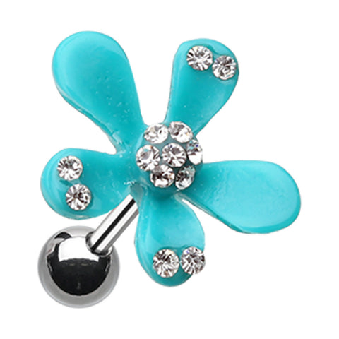 Spring Flower Bloom Cartilage Tragus Earring - 18 GA (1mm) - Light Blue - Sold As a Pair
