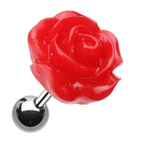 Dainty Rose Cartilage Tragus Earring - 18 GA (1mm) - Red - Sold As a Pair