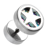 "Star Marbled Inlay 316L Surgical Steel Fake Plug - 16 GA (1.2mm) - Ball Size: 3/8"" (10mm) - Aurora Borealis - Sold as a Pair"