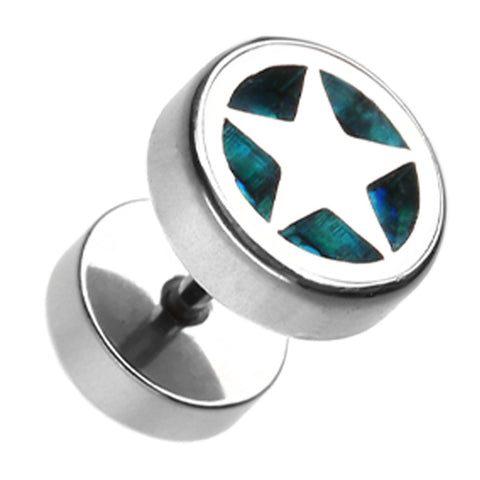 "Star Marbled Inlay 316L Surgical Steel Fake Plug - 16 GA (1.2mm) - Ball Size: 3/8"" (10mm) - Aqua - Sold as a Pair"