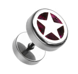 "Star Marbled Inlay 316L Surgical Steel Fake Plug - 16 GA (1.2mm) - Ball Size: 3/8"" (10mm) - Fuchsia - Sold as a Pair"