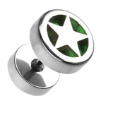 "Star Marbled Inlay 316L Surgical Steel Fake Plug - 16 GA (1.2mm) - Ball Size: 3/8"" (10mm) - Green - Sold as a Pair"