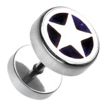 "Star Marbled Inlay 316L Surgical Steel Fake Plug - 16 GA (1.2mm) - Ball Size: 3/8"" (10mm) - Blue - Sold as a Pair"