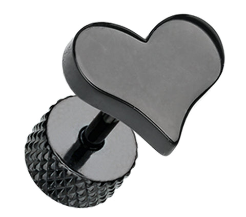 Blackline Lovely Heart 316L Surgical Steel Fake Plug