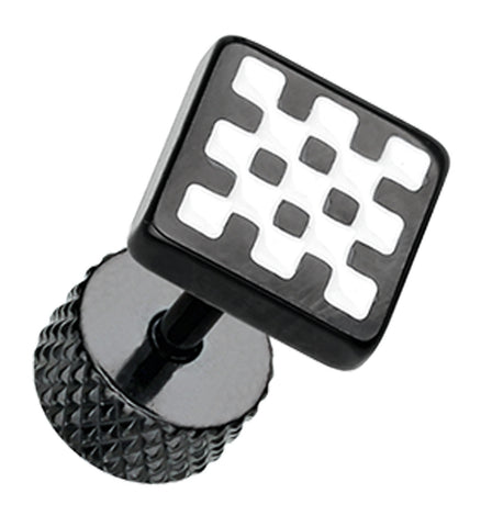 Blackline Checkerboard 316L Surgical Steel Fake Plug