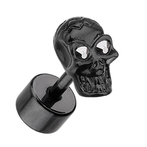 Blackline Luster Skull 316L Surgical Steel Fake Plug - 16 GA (1.2mm) - Hematite Color - Sold as a Pair