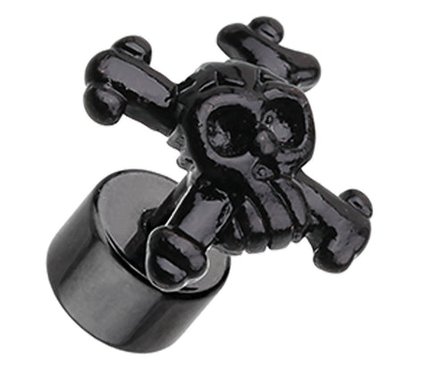 Blackline Pirate Skull 316L Surgical Steel Fake Plug