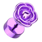Blackline Rose Blossom 316L Surgical Steel Fake Plug - 16 GA (1.2mm) - Purple - Sold as a Pair