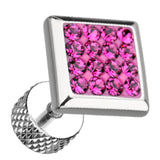 "Square Sparkling Multi Glass-Gem 316L Surgical Steel Fake Plug - 16 GA (1.2mm) - Ball Size: 3/8"" (9mm) - Fuchsia - Sold as a Pair"