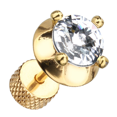 "Golden Colored Spacer Saucer Crystal 316L Surgical Steel Fake Plug - 16 GA (1.2mm) - Ball Size: 3/8"" (9mm) - Clear - Sold as a Pair"