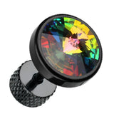 "Blackline Pointy Faceted Crystal 316L Surgical Steel Fake Plug - 16 GA (1.2mm) - Ball Size: 3/8"" (10mm) - Aurora Borealis - Sold as a Pair"