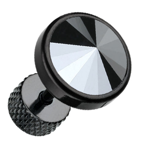 "Blackline Pointy Faceted Crystal 316L Surgical Steel Fake Plug - 16 GA (1.2mm) - Ball Size: 3/8"" (10mm) - Hematite Color - Sold as a Pair"