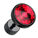 "Blackline Pointy Faceted Crystal 316L Surgical Steel Fake Plug - 16 GA (1.2mm) - Ball Size: 3/8"" (10mm) - Red - Sold as a Pair"