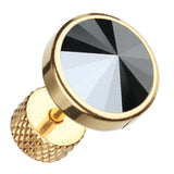 "Golden Colored Pointy Faceted Crystal 316L Surgical Steel Fake Plug - 16 GA (1.2mm) - Ball Size: 3/8"" (10mm) - Hematite Color - Sold as a Pair"