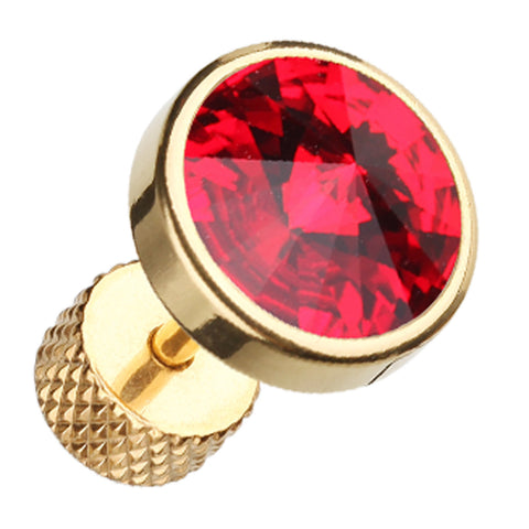 "Golden Colored Pointy Faceted Crystal 316L Surgical Steel Fake Plug - 16 GA (1.2mm) - Ball Size: 5/16"" (8mm) - Red - Sold as a Pair"