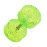 "Glitter Shimmer UV Acrylic Fake Plug - 16 GA (1.2mm) - Ball Size: 5/16"" (8mm) - Green - Sold as a Pair"