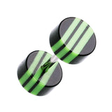 "Multi Stripe Acrylic Fake Plug - 16 GA (1.2mm) - Ball Size: 1/4"" (6mm) - Black/Green - Sold as a Pair"