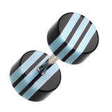 "Multi Stripe Acrylic Fake Plug - 16 GA (1.2mm) - Ball Size: 1/4"" (6mm) - Black/Light Blue - Sold as a Pair"