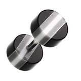 "Multi Stripe Acrylic Fake Plug - 16 GA (1.2mm) - Ball Size: 1/4"" (6mm) - Black/White - Sold as a Pair"