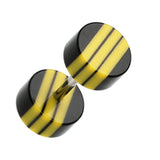 "Multi Stripe Acrylic Fake Plug - 16 GA (1.2mm) - Ball Size: 1/4"" (6mm) - Black/Yellow - Sold as a Pair"