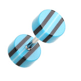 "Multi Stripe Acrylic Fake Plug - 16 GA (1.2mm) - Ball Size: 1/4"" (6mm) - Blue/Black - Sold as a Pair"
