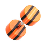 "Multi Stripe Acrylic Fake Plug - 16 GA (1.2mm) - Ball Size: 1/4"" (6mm) - Orange/Black - Sold as a Pair"
