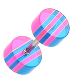 "Multi Stripe Acrylic Fake Plug - 16 GA (1.2mm) - Ball Size: 1/4"" (6mm) - Pink/Blue - Sold as a Pair"
