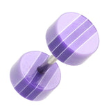 "Multi Stripe Acrylic Fake Plug - 16 GA (1.2mm) - Ball Size: 1/4"" (6mm) - Purple - Sold as a Pair"