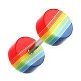 "Multi Stripe Acrylic Fake Plug - 16 GA (1.2mm) - Ball Size: 1/4"" (6mm) - Rainbow - Sold as a Pair"